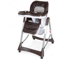 TecTake Confort Chaise Haute de Bébé Pliable - diverses couleurs au choix (Marron)