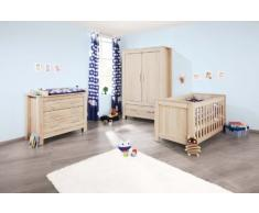 Chambre bébé Carus chêne: Lit évolutif, commode, armoire Pinolino