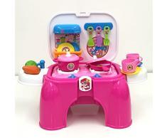 deAO Joute dimitation de cuisine Portable Playset avec accessoires inclus Handy 2 in1 CarryCase Tabouret avec effet de lumière et de sons (Rose)