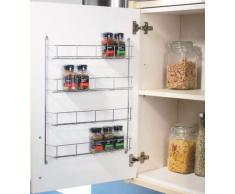 Top Home Solutions Étagère à épices Fixation arrière de porte 4 niveaux