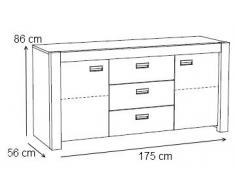 Bahut moderne à 2 portes et 3 tiroirs coloris chêne Ardennes