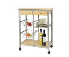 Chariot de cuisine à roulettes Table d'appoint pour cuisine Meuble de rangement pour petits espaces Alu + bois