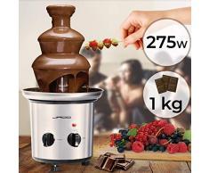 Fontaine à Chocolat - 275 W, 3 Étages, Capacité 1 kg Chocolat, Électrique, H 39 cm, en Acier Inoxydable, Lavable dans le Lave-Vaisselles, Argenté - Fondue au Chocolat, Fruits