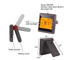 Digital Thermomètre à viande, Aidmax Pro03, thermomètre de cuisson sans fil Bluetooth avec 6 ports sondes, thermomètre de cuisson pour fumoir, four et grill avec deux sondes