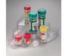 iDesign étagère à épices à 3 niveaux, porte épices à étages, boite à épices en plastique pour épices, conserves et plus encore, transparent