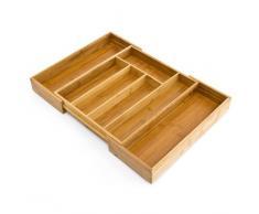 Relaxdays Organiseur de tiroir pour la cuisine réglable H x l x P: 5 x 29 - 45 x 33,5 cm range-couverts ajustable de 5 à 7 compartiments en bois de bambou télescopique penderie bureau armoire, nature