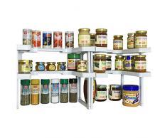 UPP Étagère porte-épices de placard à 2 niveaux - lot de 2 I Idéal comme rangement pour épices et herbes I Peut contenir jusqu'à 64 épices I Étagère de rangement de cuisine
