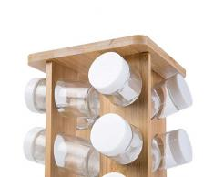 Étagère à épices | en Bambou, avec 16 Pots, boites en Verre, rotatif, Rangement Autonome, Verres passent au Lave-Vaisselle | Présentoir Carrousel à herbes aromatiques