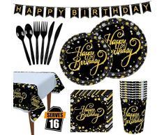 VAINECHAY 114pcs Vaisselle Jetable Anniversaire Noir Or Assiette Dîner Tasse Serviette Papier Nape Couteau Fourchette Cuillère Nappe de Table pour Party Anniversaire, 16 Invités