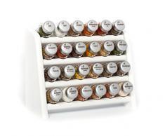 Gald Poland - Étagère à Épices Libre ou Mural Pour 24 Flacons d'Épices- Produit Européen - Blanc - Bouchon Mat