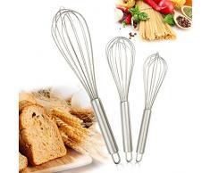 Gifort Cuisine Fouet, Fouet fil d'acier inoxydable Fouet Fouet ballon pour le mélange//proposons Remuant de cuisine Ustensiles et accessoire de cuisson Kit de 3 de 8zoll & 10zoll & 12ZOLL