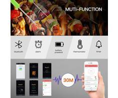 ROXTAK Thermomètre de Cuisson Bluetooth Professionnel sans Fil, 4 Sondes, Mode Cuisson Programmable LCD Ecran Thermomètre à Viande, Barbecue, Pâtisserie, BBQ, Chocolat Support Smartphone, iphone