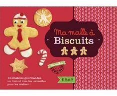 Ma malle à biscuits : Avec 1 livre, 1 emporte-pièce bonhomme et ses accessoires, 6 tampons, 1 rouleau à pâtisserie en bois