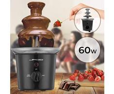 Fontaine à Chocolat - 60 W, 3 Étages, Capacité 400 g, Électrique, H 24.5 cm, en Acier Inoxydable, Lavable dans le Lave-Vaisselles, Noir ou Rouge - Fondue au Chocolat, Fruits (Noir)