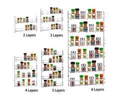 Dyna-Living Étagère Murale Cuisine Rangement Spice Rack de Stockage en Métal 47.5 * 38.5 * 5.5cm avec des Vis Niveau 4 pour des Épices Condiments Nourriture en Boîte 1 PCS