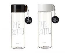 La bouteille Transparent seau seau à bouteille d'eau sans BPA Tritan non toxique 550 ml – 510 multicolore Noir/Blanc