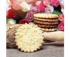 Igemy Noël Rouleau à pâtisserie en relief Rouleau à pâtisserie avec motifs de Noël à rouler broches pour la cuisson en bois gravé en relief Rouleau à pâtisserie Renne Flocon de neige a