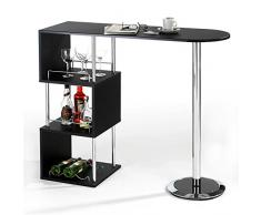 Table haute de bar mange-debout comptoir VIGANDO 3 tablettes MDF décor noir