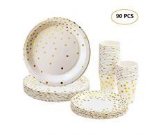 Lot Gobelets et Assiettes Jetables, 90 pièces Vaisselle Carton Jetable 30 Goblets en Papier + 30 Assiettes à Dessert + 30 Grandes Assiettes pour Anniversaire Fêtes avec Motif doré (90 pcs-1)