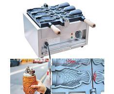 Gaufrier en forme de poisson Taiyaki Machine Électrique Crème Glacée Cône doeuf Bouche Ouverte Grand Diamètre CE 220V (3 à la fois)