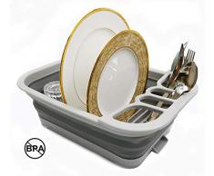 Sammart pliable Égouttoir avec égouttoir à tableau – Ensemble de Séchoir pliable – Portable Vaisselle Organiseur – économiser de lespace de cuisine Plateau de rangement S gris