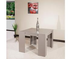 Console ELASTO taupe mat, extensible en table repas 10 couverts.