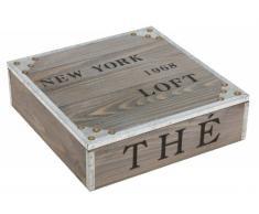 Grand Boîte à thé en bois - 'New York 1968' - 9 compartiments de rangement