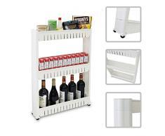 Étagère sur roulettes pour cuisine ou Salle de bain - Chariot meuble de rangement 3 compartiments