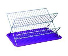 MSV 110534 Égouttoir à Vaisselle Pliant avec Plateau Acier/Plastique Argent/Violet 40 x 34,5 x 27 cm