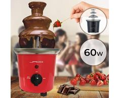 Fontaine à Chocolat - 60 W, 3 Étages, Capacité 400 g, Électrique, H 24.5 cm, en Acier Inoxydable, Lavable dans le Lave-Vaisselles, Noir ou Rouge - Fondue au Chocolat, Fruits (Rouge)