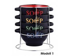 5 Pièces assiettes creuses en céramique avec support set de 4 bols de 700 ml - 3 modèles différents-coupe à dessert-soupe-terrine soupière-bols à soupe-support de rangement idéal pour manger des céréales, Modell 1