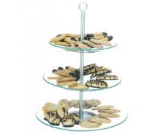 Relaxdays Présentoir à gâteaux à 3 étages en verre