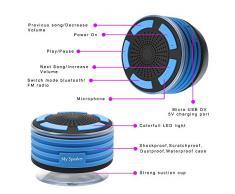 Radio de douche Enceinte Etanche Portable Bluetooth et Stereo pour la Douche, sans Fil, Haut Parleur avec Ventouse, Anti Choc et Waterproof, Stereo Bluetooth, compatible IOS, Android et autres peripheriques avec fonction Bluetooth.Unodeco U028