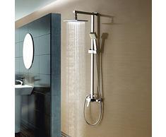 ZYJYune top spray douche ensemble, tout contrôle de la température à cuivre pommeau de douche lumineux, douche