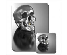 Crâne tête de mort avec dents Chromé doré Mousematt &Lot de 4 dessous de verre de qualité