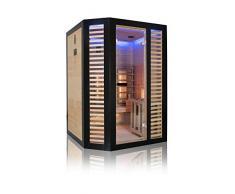 Sauna Holls Graphite Hybride 2 places - sauna infrarouge et sauna traditionnel- poêles Harvia 3.5kW et accessoires inclus
