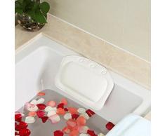 LQZ(TM) Bain Oreiller Doux Spa Appuie-tête Lavable Coussin Bain PVC Mousse Baignoire Ventouses (blanc)