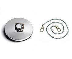 Bulk Hardware BH03917 Bouchon de baignoire en métal chromé 45 mm avec chaîne 46 cm et crochets en S