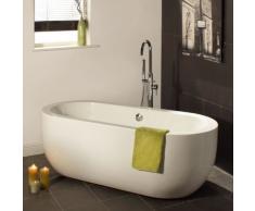 Baignoire Îlot Ovale Monobloc - Design Moderne et Elégant - Acrylique Blanc 5mm - Contenance 195L - Garantie 2 ans