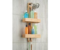 mDesign étagère de douche sans perçage – support de rangement pour douche à suspendre – ustensile de salle de bain en bambou – paniers pour accessoires de douche (shampooing, rasoir etc.)