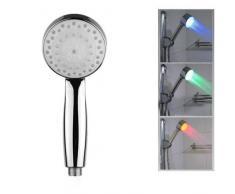M-zone Robinet Douche lumineux à LED 7 Couleurs Tête Carrée Finition Chrome - voir photo, Rond