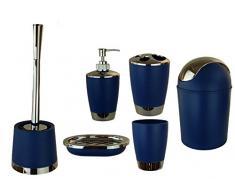 6 pièces de salle de bain salle de bains Accessoires Set Distributeur de Savon Porte Brosse WC Garnitur bleu