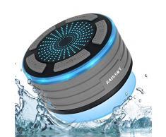 Enceinte Bluetooth Étanche Haut-Parleur Douche sans Fil Portable étanche Douche Haut-Parleur avec Radio FM,Lumières LED,Super Basse et Son HD pour Salle de Bain Piscine Plage Cuisine Extérieure