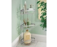 mDesign étagère d'angle pour douche autoportant – meuble de rangement pratique à 3 niveaux – support pour douche idéal pour shampooings, gels de douche, serviettes & Cie. – en métal argenté