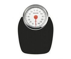 Pèse-personne mécanique de style Docteur Salter - rétro blanc + noir Pesée précise, cadran analogique facile à lire, plateforme en métal robuste, pesant jusquà 150 kg, sans pile