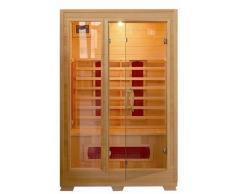 Sauna infrarouge 120 x 100 portes en verre avec structure en bois 2 personnes