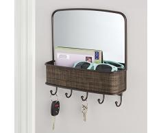 InterDesign 95930EU Twillo Miroir Mural et Rangement de Courrier pour Cuisine Couloir Entrée Bronze