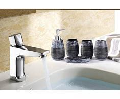 Bellabrunnen 5pcs Rétro élégante salle de bains Set résine Bath Accessoire Gravier design