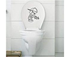KXCTQ Stickers muraux Salle de Bains Personnalité de la Mode Mignon Urinoir Garçon Autocollants de Toilettes Salle de Bains Drôle Amovible Autocollant Décoratif Mural