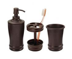 mDesign ensemble salle de bain de qualité (lot de 3) – accessoires salle de bain avec distributeur de savon, verre à dent et porte brosse à dent – set de salle de bain en métal résistant – bronze